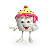 Ice Cream character is pointing Royalty Free Stock Photo