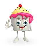 Ice Cream character is shake hand Royalty Free Stock Photo