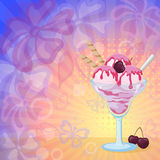 Ice Cream and Cherries on Abstract Background. Food, Glass with Sundae Ice Cream with Syrup, Waffles and Cherry Berries on Abstract Background with Silhouettes stock illustration