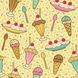 Ice Cream, Cherries And Sprinkles Stock Photos