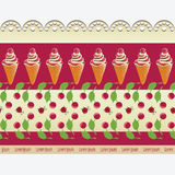 Ice cream, cherries and lace. Stock Images