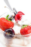 Ice cream, cherries, raspberries, strawberries Royalty Free Stock Photography