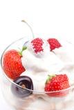 Ice cream, cherries, raspberries and strawberries Royalty Free Stock Photo