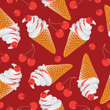 Ice cream with cherries. Seamless pattern on red background. Design for textiles , tapestries, packaging, bags, purse Royalty Free Stock Photo