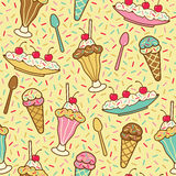 Ice Cream, Cherries and Sprinkles Stock Photos