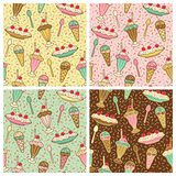 Ice Cream, Cherries And Sprinkles Pattern. A seamless pattern of ice cream desserts with cherries and sprinkles in four colorways. Repeat size is 6.3125 inches Royalty Free Stock Photography