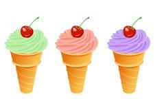 Ice cream with cherry. Vector ice cream with cherry Royalty Free Stock Images