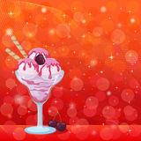 Ice Cream, Cherry Berry and Abstract Background. Food, Glass with Sundae Ice Cream with Waffles and Cherry Berry on Abstract Background with Circles, Stars and stock illustration