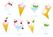 Ice cream with cherry and mint Stock Photo