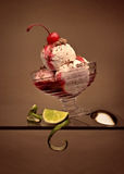 Ice-cream with a cherry on top Royalty Free Stock Photos