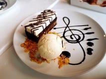 Ice cream with chocolate cake. Stock Photo