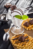 Ice Cream with chocolate candies, Mint and waffles. Stock Photo