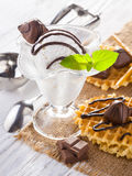 Ice Cream with chocolate candies, Mint and waffles. Royalty Free Stock Images