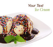 Ice cream with chocolate and candy sprinkles Stock Photography