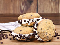 Ice Cream Chocolate Chip Cookie Sandwices Royalty Free Stock Images