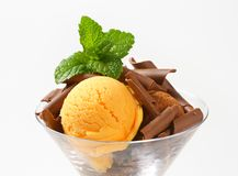 Ice cream  with chocolate curls Royalty Free Stock Photography