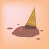 Ice cream chocolate falls on the ground. Royalty Free Stock Image