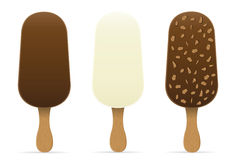 Ice cream with chocolate glaze on stick vector illustration Royalty Free Stock Images