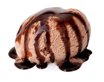 Ice cream with chocolate sauce. Stock Photos