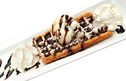 Ice cream with chocolate topping on a waffle Royalty Free Stock Photos