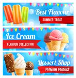 Ice cream chocolate and vanilla dessert 3d banner. Ice cream 3d summer dessert banner set. Chocolate covered and vanilla ice cream cone, fruit popsicle on stick Royalty Free Stock Images