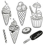 Ice cream. And chocolate vector set Stock Images