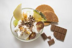 Ice cream with chocolate and waffles Royalty Free Stock Photos