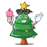 With ice cream Christmas tree character cartoon. Vector illustration Stock Photo
