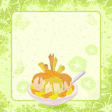 Ice Cream, Citrus, Waffles and Floral Background Stock Images