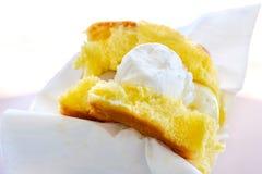Ice cream closeup flat bread focaccia gelato italian sweet.  Stock Image