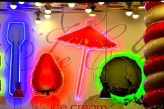 Ice cream cocktail bar neon symbols Royalty Free Stock Images
