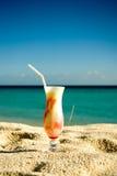 Ice cream cocktail on the sand stock photo