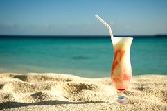 Ice cream cocktail on the sand Royalty Free Stock Photo