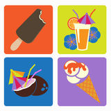 Ice cream and cocktails. Vector icon ice cream and cocktails, flower, orange, straw, coconut Royalty Free Stock Image