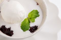 Ice cream in a coconut milk on Black Sticky rice with Mint leave Stock Image