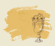 Ice cream with coffee cocktail on grunge background. Royalty Free Stock Photos