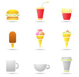 Ice Cream, coffee and Fast Food Royalty Free Stock Image