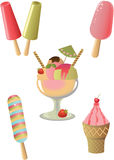 Ice cream collection. Fruit and chocolate ice cream Royalty Free Stock Photography