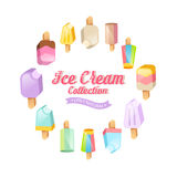 Ice cream collection. Vector background. Various ice cream on a stick located on a circle Stock Images