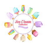 Ice cream collection. Vector background. Various ice cream on a stick located on a circle Royalty Free Stock Images