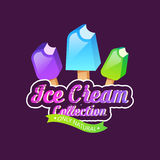 Ice cream collection vector illustration. Ice cream emblems, label or badge vector illustration Royalty Free Stock Photos