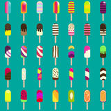 Ice cream collection for your design. Big set of ice lollies with different toppings. Royalty Free Stock Photography