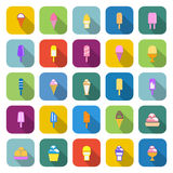Ice cream color icons with long shadow Royalty Free Stock Image