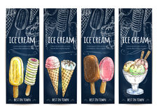 Ice cream color sketch banners set. Ice cream chalk sketch on chalkboard. Vector banners set with ice cream assortment of scoops in glass bowl, vanilla eskimo Royalty Free Stock Photo