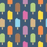 Ice cream colored popsicle seamless vector pattern stock illustration