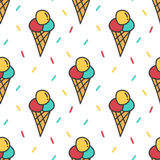 Ice cream and colorful confetti seamless pattern background Stock Photo