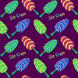 Ice Cream colorful striped variety with inscription in blue, green, pink, yellow neon colors palette, seamless pattern design. Hand painted watercolor stock illustration