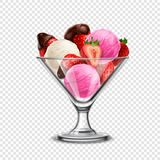 Ice Cream Composition. Colored ice cream in transparent glass bowl with fruits on transparent background vector illustration Royalty Free Stock Image