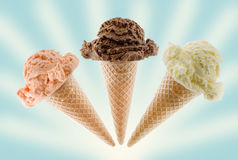 Ice cream on cone Stock Photography