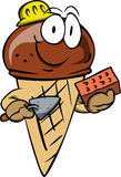Ice cream cone as bricklayer with brick and trowel Royalty Free Stock Images